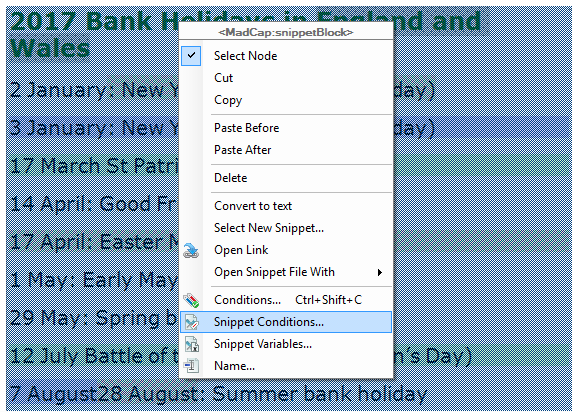Screenshot showing Select Snippet Conditions
