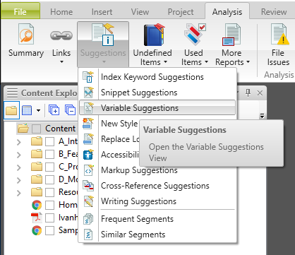 Screenshot showing the list of options available from the Suggestion button