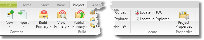 Screenshot showing Locate Icons on Project ribbon