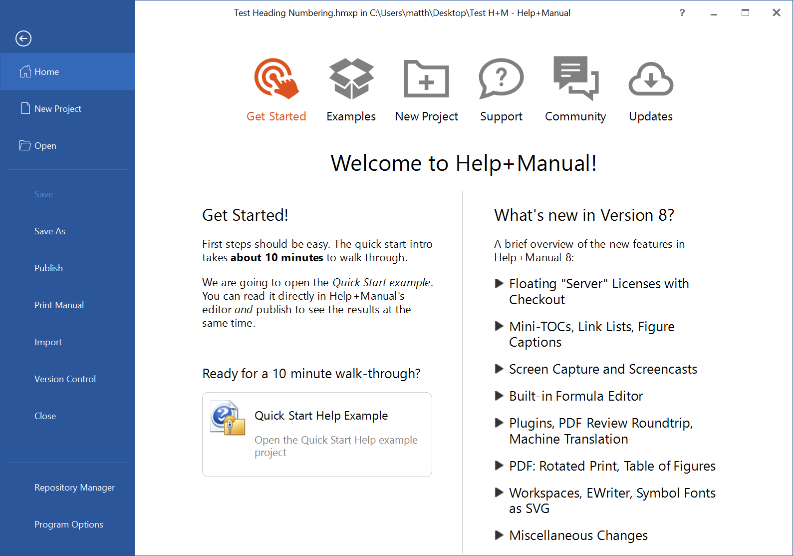 Screenshot showing the Help+Manual 8 Home page