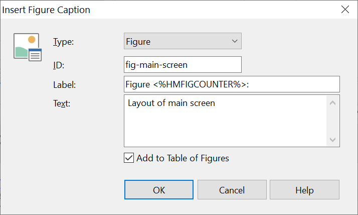 Screenshot showing the Insert Figure Caption dialog in Help+Manual 8