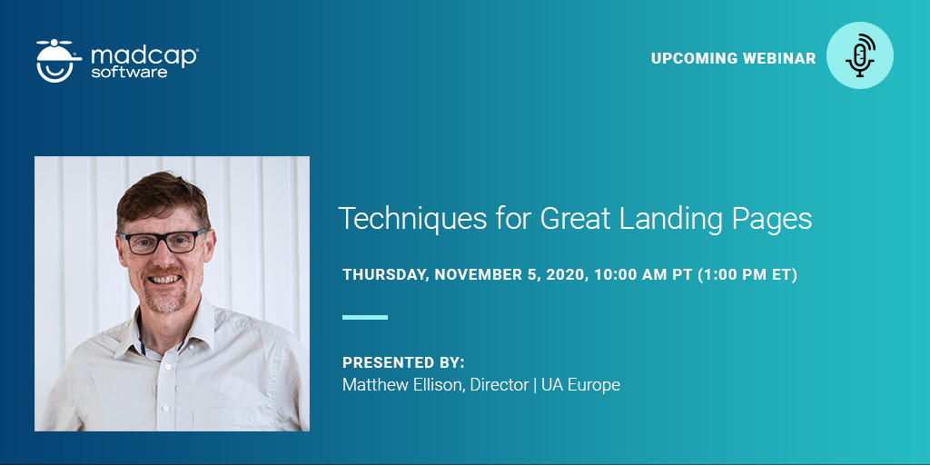 Upcoming webinar on Techniques for Great Landing Pages - presented by Matthew Ellison on 5 November, 2020
